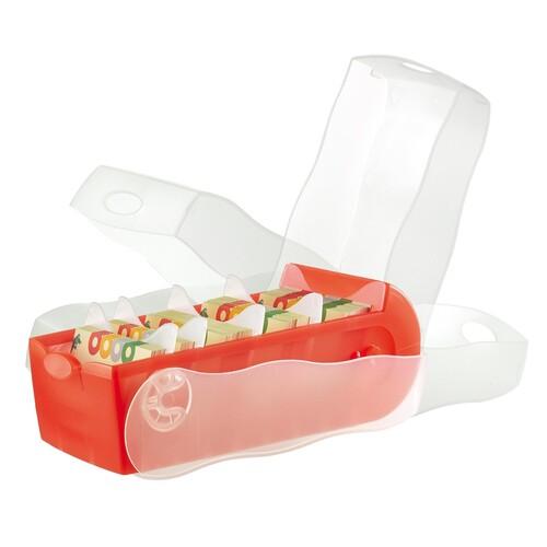 Karteibox Croco A8 quer Lernkartei mit 100 Karten rot transluzent Kunststoff HAN 998-617 Produktbild Additional View 3 L