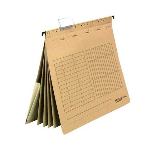 Mehrfach-Hängehefter UniReg 4x kaufmännische Heftung und Tasche und 4 Trennblätter braun Falken 15038181 (PACK=20 STÜCK) Produktbild Front View L