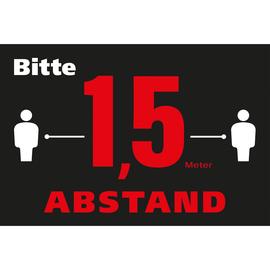 Hinweismatte -Bitte 1,5m Abstand halten- 60x90cm schwarz/rot 62000 Produktbild