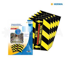 Bodenmarkierung Piktogramm mit Text Abstand halten 7x29,7cm schwarz/gelb/rot Herma 12918 (PACK=15 ETIKETTEN) Produktbild
