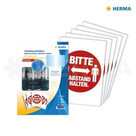 Hinweisaufkleber Gebotszeichen Bitte Abstand halten ø 20cm rot Herma 12921 (PACK=5 ETIKETTEN) Produktbild