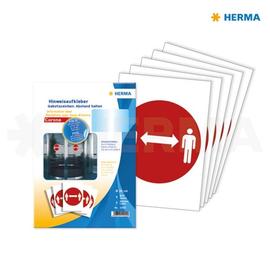 Hinweisaufkleber Gebotszeichen Piktogramm Abstand ø20cm rot Herma 12922 (PACK=5 ETIKETTEN) Produktbild