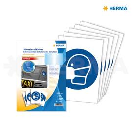 Hinweisaufkleber Gebotszeichen Mundschutz tragen ø20cm blau Herma 12923 (PACK=5 ETIKETTEN) Produktbild