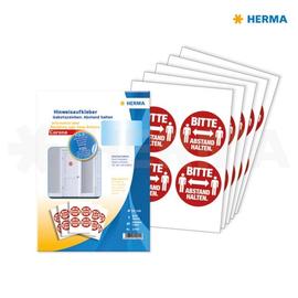 Hinweisaufkleber Gebotszeichen Bitte Abstand halten ø 10cm rot Herma 12924 (PACK=20 ETIKETTEN) Produktbild