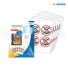 Hinweisaufkleber Verbotszeichen Hände- schütteln verboten ø10cm rot Herma 12926 (PACK=20 ETIKETTEN) Produktbild