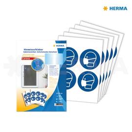Hinweisaufkleber Gebotszeichen Schutz- maske benutzen ø 10cm blau Herma 12929 (PACK=20 ETIKETTEN) Produktbild