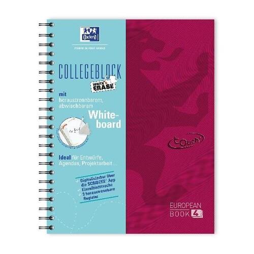 Collegblock Oxford Touch A4+ European- book 120 Blatt kariert beere incl. Whiteboard 400132984 Produktbild Front View L