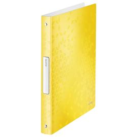 Ringbuch WOW A4 4Ringe Ringe-Ø25mm bis190Blatt gelb metallic PP Leitz 4258-00-16 Produktbild