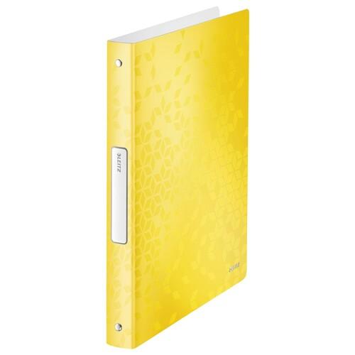 Ringbuch WOW A4 4Ringe Ringe-Ø25mm bis190Blatt gelb metallic PP Leitz 4258-00-16 Produktbild Front View L