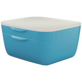 Schubladenbox Cosy 2 Schübe 25,1x14,2x27,5cm blau/hellgrau Kunststoff Leitz 5357-00-61 Produktbild