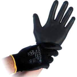 Arbeitshandschuh BLACK ACE Polyester Größe L Hygostar 33934 (PACK=12 PAARE) Produktbild