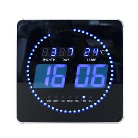 Wanduhr FLO LED mit Kalender und Thermometer schwarz Unilux ohne Batterie 400124566 Produktbild