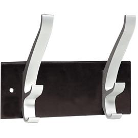 Garderobenleiste für die Wand Cypres 20x15x9cm 2 Kleiderhaken Unilux schwarz/silber 100340804 Produktbild