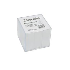 Zettelbox mit weißem Papier glasklar 10,5x10,5x9,1cm Kunststoff Soennecken 5806 Produktbild