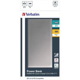 USB-Powerbank mit 2 Ausgängen 5V 20000mAh silber Verbatim 49577 Lithium-Ion Akku Produktbild