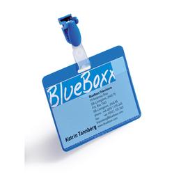 Namensschild mit Clip  60x90mm vorne offen Querformat blau 8106-06 Durable (PACK=25 STÜCK) Produktbild