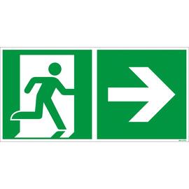Hinweisschild Rettungsweg rechts 30x15cm Hart-PVC Produktbild