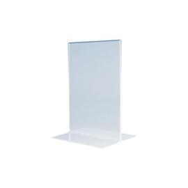 Tischaufsteller gerade für beidseitige Präsentation A6 glasklar Acryl Magnetoplan 43111 Produktbild