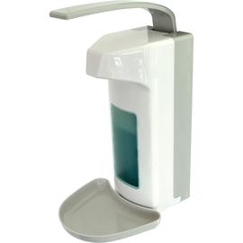 Desinfektionsspender mit Tropfschale inklusive Leerflasche weiß/grau Helit H6817182 Produktbild
