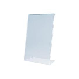 Tischaufsteller schräg für einseitige Präsentation A6 glasklar Acryl Magnetoplan 43100 Produktbild