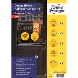 Corona Hinweis-Aufkleber Set Gastro Zweckform 49401 (PACK=12 ETIKETTEN) Produktbild