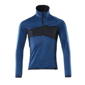Fleecepullover mit kurzem Reißverschluss Microfleecejacke / Gr. S, Azurblau/Schwarzblau Produktbild