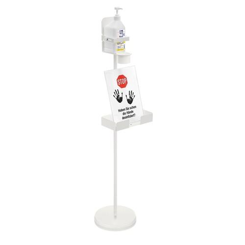 Ständer für Desinfektionsmittelhalter mit Sockel 100cm, Ø 25cm weiß Wedo 105 30000 Produktbild Additional View 1 L