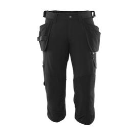 Dreiviertel-Hose, Hängetaschen, Stretch  Handwerker-Dreiviertel-Hose / Gr. C62,  Schwarz Produktbild