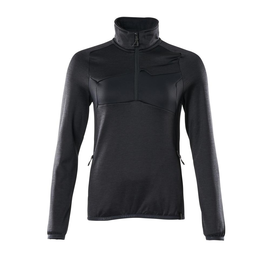 Fleecepullover mit kurzem Zipper, Damen  Microfleecejacke / Gr. M, Schwarzblau Produktbild