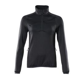 Fleecepullover mit kurzem Zipper, Damen  Microfleecejacke / Gr. L, Schwarzblau Produktbild