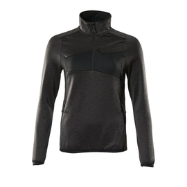 Fleecepullover mit kurzem Zipper, Damen  Microfleecejacke / Gr. 5XL,  Dunkelanthrazit/Schwarz Produktbild