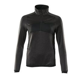 Fleecepullover mit kurzem Zipper, Damen  Microfleecejacke / Gr. L,  Dunkelanthrazit/Schwarz Produktbild