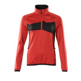 Fleecepullover mit kurzem Zipper, Damen  Microfleecejacke / Gr. M,  Verkehrsrot/Schwarz Produktbild