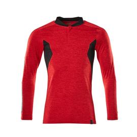Polo-Shirt mit COOLMAX® PRO, Langarm /  Gr. XL ONE, Verkehrsrot meliert/Schwarz Produktbild