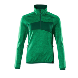 Fleecepullover mit kurzem Zipper, Damen  Microfleecejacke / Gr. S, Grasgrün/Grün Produktbild