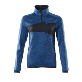 Fleecepullover mit kurzem Zipper, Damen  Microfleecejacke / Gr. L,  Azurblau/Schwarzblau Produktbild