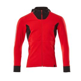 Sweatshirt mit Kapuze, moderne Passform  Sweatshirt mit Reißverschluss / Gr.  4XLONE, Verkehrsrot/Schwarz Produktbild