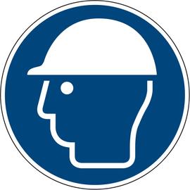 Hinweisschild Kopfschutz benutzen ISO 7010/M014 rund 200mm PVC Produktbild