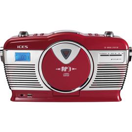 Lenco Radio ISCD-33 red Retro FM CD rot Produktbild