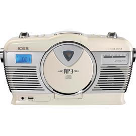 Lenco Radio ISCD-33 creamws Retro FM CD weiß Produktbild