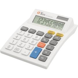 TWEN Tischrechner J-1010 568 10Zeichen Solar/Batterie weiß Produktbild