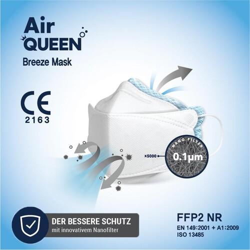 Mund- u. Nasenmaske FFP2 Air QUEEN Nanofaser CE2163 / EN149:2001+A1:2009 Produktbild