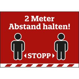 Hinweisschild 2 Meter Abstand 420x297mm PVC rot Produktbild
