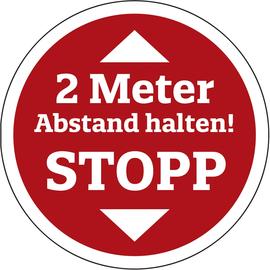 Hinweisschild 2 Meter Abstand rund 400mm rot/weiß Produktbild