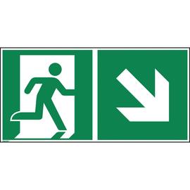 Hinweisschild Rettungsweg rechts abwärts ISO 7010 300x150mm PVC Produktbild