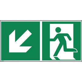Hinweisschild Rettungsweg links abwärts ISO 7010 300x150mm PVC Produktbild