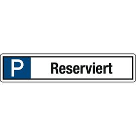 Hinweisschild Parkplatz Reserviert 520x110mm Alu Produktbild