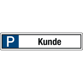 Hinweisschild Parkplatz Kunde 520x110mm Alu Produktbild