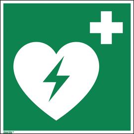 Hinweisschild Defibrilator ISO 7010 200x200mm PVC Produktbild