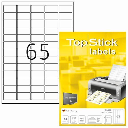 Etiketten Inkjet+Laser+Kopier 38,1x21mm auf A4 Bögen weiß BestStandard (PACK=6500 STÜCK) Produktbild